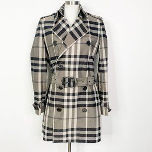 Burberry London Coated Canvas Trench Coat Iconic Nova Check size 10 Shimmer